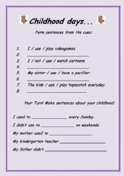 English Worksheets: Childhood Days