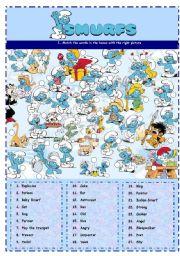 English Worksheets: SMURFS VI - VOCABULARY MATCH