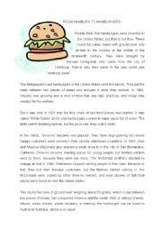 English Worksheets: from hamburg to hamburgers