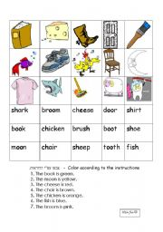 English Worksheets: ch,sh,oo -memory game
