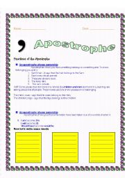 English Worksheet: Apostrophe