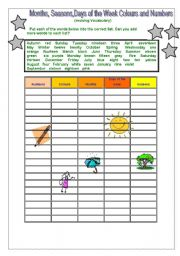 English Worksheet: Months, Seasons, days of the Week, Colours and Numbers