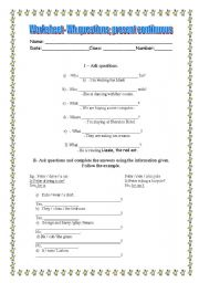 present continuous wh questions worksheets pdf