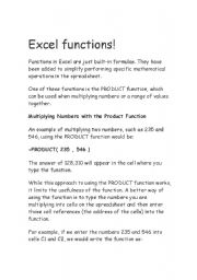 English Worksheets: excel functions