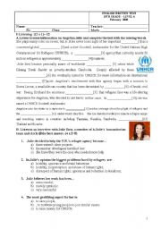 English Worksheet: Test:Listening, reading, grammar and writing_Volunteering