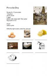 English Worksheet: Pancake Day
