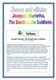 English Worksheet: Heroes & villains: Joachim Murietta ( whole Project: 13 pages)
