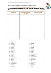 English Worksheets: solidarity, problems in the world, human right
