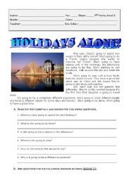 English Worksheets: Holidays alone in Paris