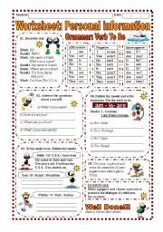 English Worksheet: Worksheet: Personal Information / Verb to be