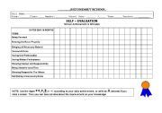 English Worksheets: Daily Self-evaluation