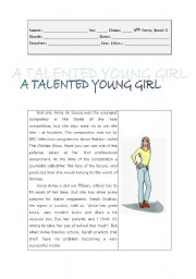 English Worksheets: A talented young girl