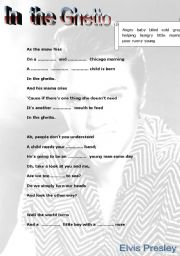 English Worksheet: Elvis Presley - In the Ghetto