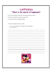 English teaching worksheets: Happiness