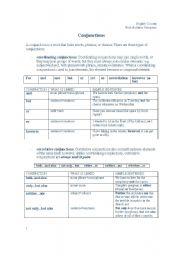 English Worksheet: Conjunction Grammar