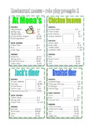 English Worksheet: restaurant menus 2