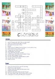 English Worksheet: Clothes-crossword
