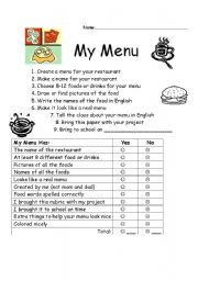 English Worksheet: Rubric for making a menu