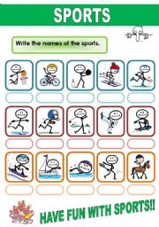 English Worksheets: SPORTS VOCABULARY
