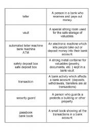 English Worksheet: Banking terms NOUNS Matching definitions/conentration games