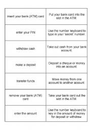 English Worksheet: Banking Verbs for ATM/Bank Machines