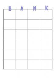 English Worksheets: Banking Bingo