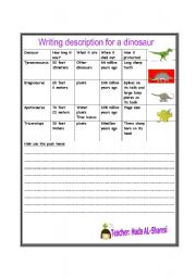 English Worksheets: writing about dinosaur