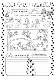English Worksheet: On the farm (there is / are)