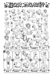 English Worksheet: How many? (+ farm animals)