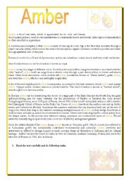 English Worksheets: AMBER- comprehension reading with many exercises on second page