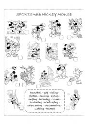 English Worksheet: Sports with Mickey Mouse