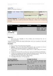 English Worksheet: Lesson Plan Based on the Direct Method