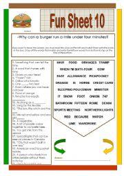 English Worksheets: Fun Sheet 10