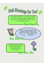 English Worksheets: Irish Blessings for You