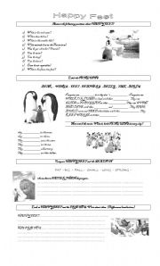 English Worksheets: HAPPY FEET MOVIE
