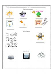 English Worksheet: Kinds of energy