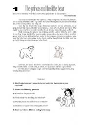 English Worksheets: the prince and the bear