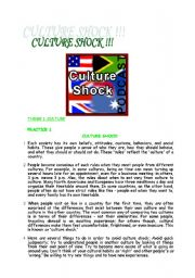 CULTURE SHOCK READING AND LISTENING ACTIVITY WITH VOCABULARY CHART ;) DIAMOND FOR MULTILINGUAL CLASSES :)