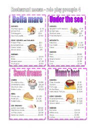 English Worksheet: RESTAURANT MENUS 4