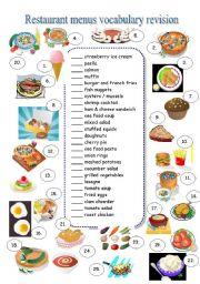 English Worksheet: RESTAURANT MENU - vocabulary revision