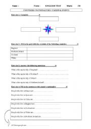English Worksheet: geography test (nationalities /capital cities/ country symbol/ cardinal points)