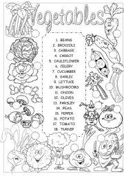 English Worksheet: Vegetables pictionary