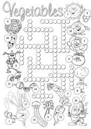 English Worksheet: Vegetables crossword