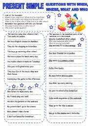 English Worksheet: PRESENT SIMPLE (4) QUESTIONS WITH WHEN, WHERE, WHAT AND WHO