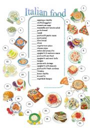 English Worksheet: Italian food