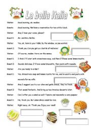 English Worksheet: Italian restaurant