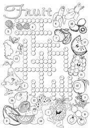 English Worksheet: Fruit Crossword