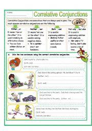 English teaching worksheets: Correlative conjunctions