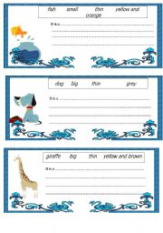 English Worksheet: Cards for short stories about animals