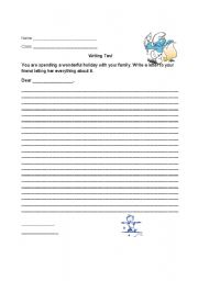English Worksheets: writing test holiday